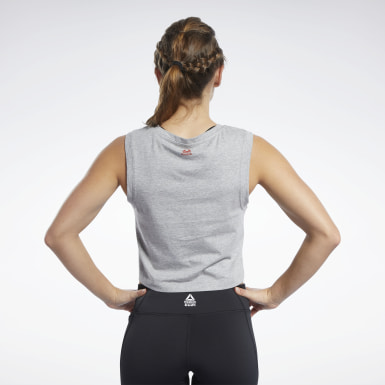 Women Cross Training Grey Reebok CrossFit® Crop Top