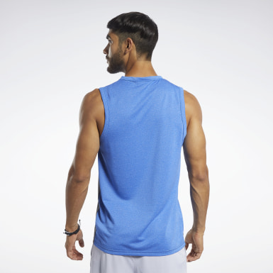 Men Studio Blue Workout Ready Melange Tank Top