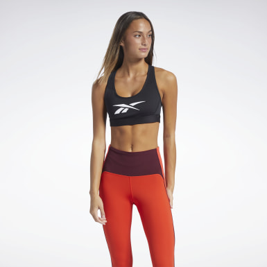 Women HIIT Black Reebok Lux Racer Medium-Impact Sports Bra
