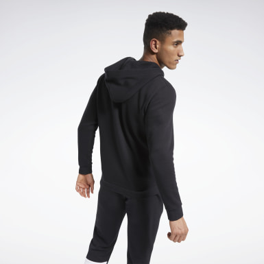 Men Outdoor Black Training Essentials Fleece Zip Up Hoodie