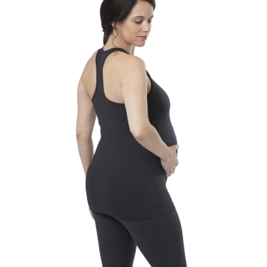 Women Yoga Black Seamless Maternity Tank Top