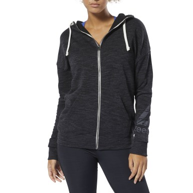 Women Training Black Training Essentials Marble Full-Zip Hoodie