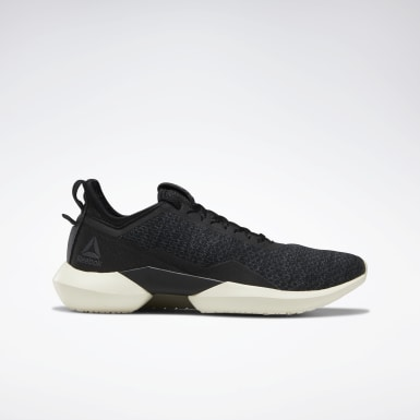 Women Running Black Reebok Interrupted Sole Women's Shoes