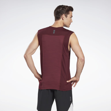 Men Studio Burgundy LES MILLS® BODYCOMBAT® Muscle Sleeveless Tee