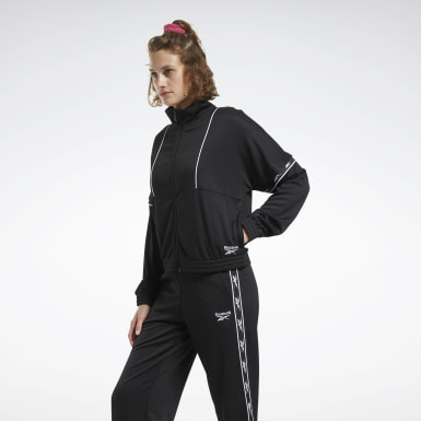 Women Classics Black Classics Vector Tape Track Jacket