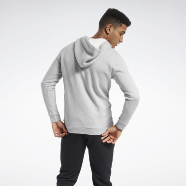 Men Training Grey Training Essentials Fleece Zip Up Hoodie