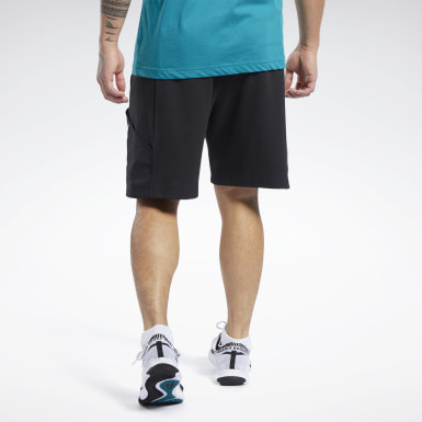Men Training Black Knit-Woven Shorts