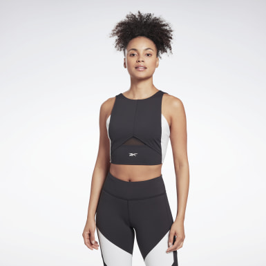 Women Training Black Colorblock Crop Top