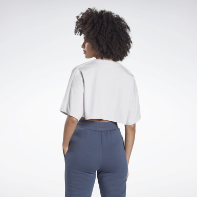 Kvinder Dance White Vector Velour Short Sleeve Crop Top