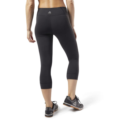 Women Yoga Black Reebok Lux 3/4 Tights 2.0