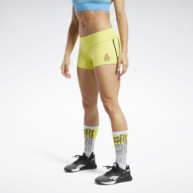 Pantalón corto Reebok CrossFit® Games Chase Solid Booty Amarillo Mujer Cross Training