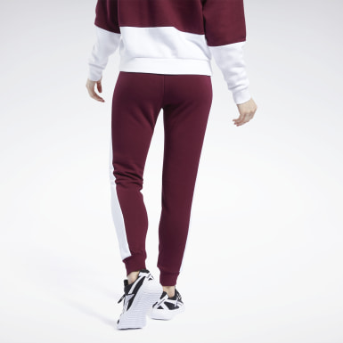 Dam Fitness & Träning Burgundy Training Essentials Linear Logo Pants