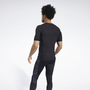 Men Terrengløping Black Compression Printed Short Sleeve Tee
