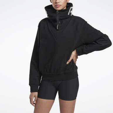 Jersey VB Cropped Cowl Negro Mujer Fitness & Training