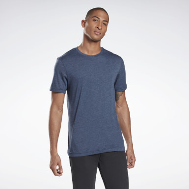 Heren Fitness & Training Blauw Tri-Blend T-shirt met Ronde Hals