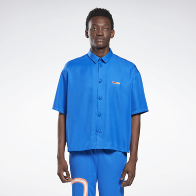 Classics Blue Reebok by Pyer Moss Short Sleeve Cropped Button-Down Shirt