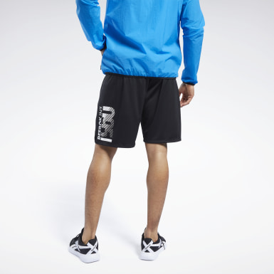 Men Yoga Black Graphic Shorts