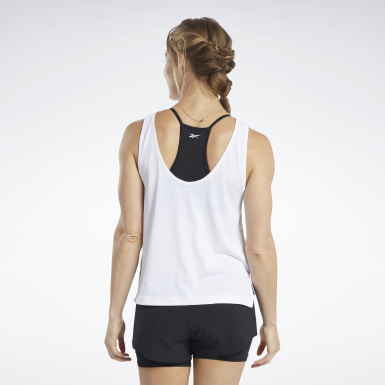 Women Yoga White ACTIVCHILL+COTTON Graphic Tank Top