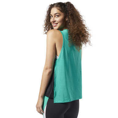 Women Training Turquoise Perforated Performance Tank Top