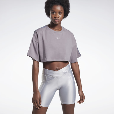 Frauen Dance Vector Velour Short-Sleeve Crop Top