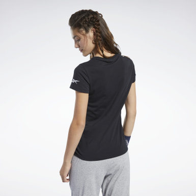 Frauen Fitness & Training Logo T-Shirt Schwarz
