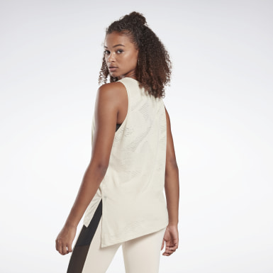 Women Studio Beige LES MILLS® Burnout Tank Top