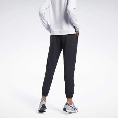 Women Fitness & Training Black Stretch Woven Joggers