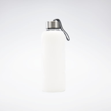 Running White Tech Style Glass Water Bottle