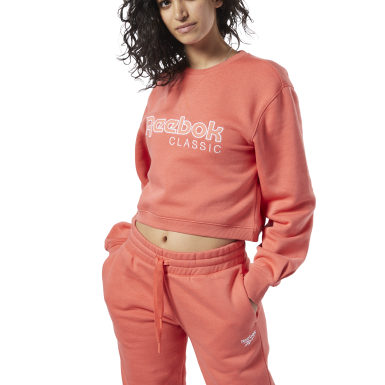 Women Classics Orange Reebok Classics Fleece Sweatshirt