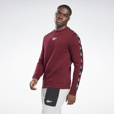 Men Fitness & Training Burgundy Training Essentials Tape Crew Sweatshirt