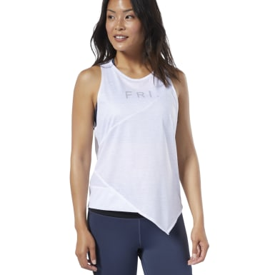 Women Yoga White Studio Graphic Tank Top