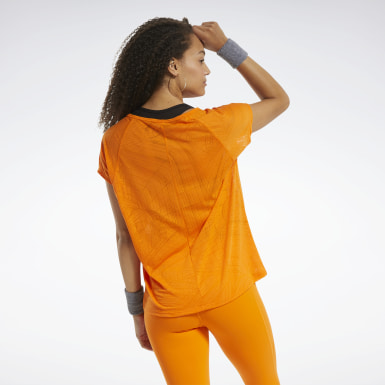 Frauen Wandern Burnout T-Shirt Orange
