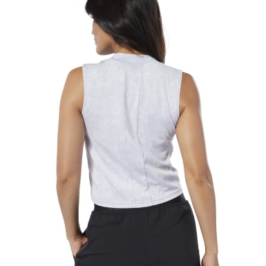 Women Studio Grey Studio Washed High Neck Tank Top