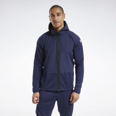 Men Hiking Blue Speedwick Performance Full-Zip Hooded Jacket