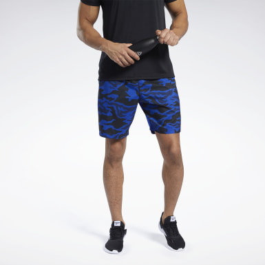 Men Fitness & Training Blue Workout Ready Graphic Shorts