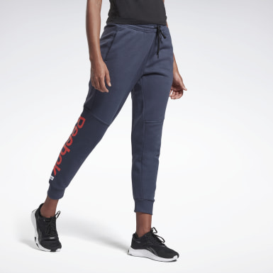 Women Fitness & Training Blue Linear Logo Pants
