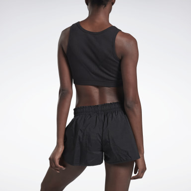 Women Training Black VB Ribbed Crop Top