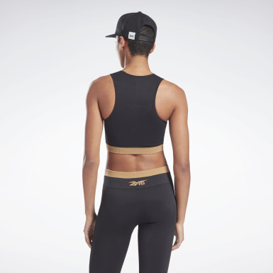 Women Fitness & Training Black VB Seamless Crop Top