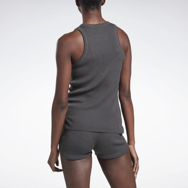 Women Training Grey VB Knitted Tank Top