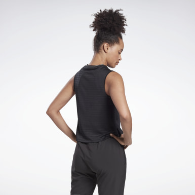 Women Running Black Run Jacquard Tank Top