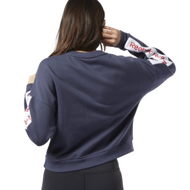 Dames Fitness & Training Blauw Training Essentials Logo Sweatshirt met Ronde Hals