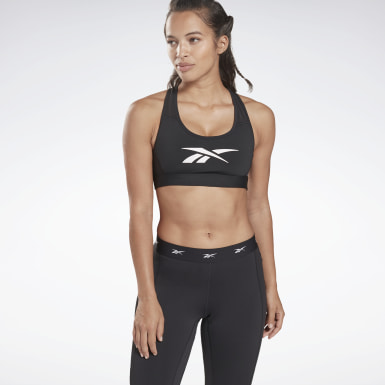 Women Yoga Black Reebok Hero Medium-Impact Racer Bra