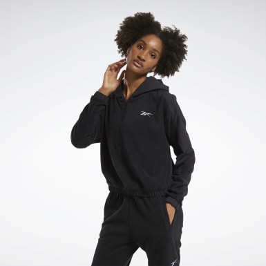 Felpa con cappuccio MYT con zip a 1/4 Nero Donna City Outdoor