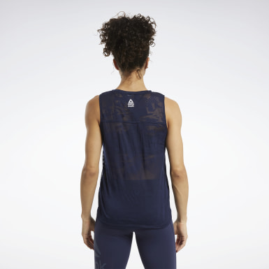 Women Training Blue CrossFit® Burnout Sleeveless Tee