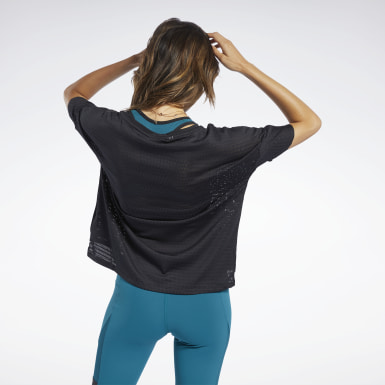 Women Yoga Black Perforated Tee
