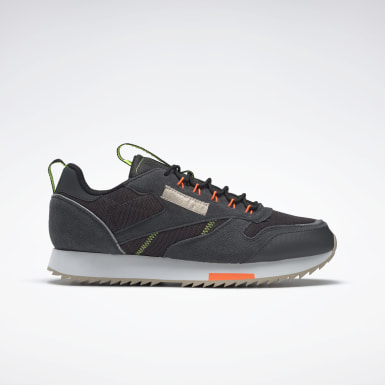 Men Classics Grey Classic Leather Ripple Trail Shoes