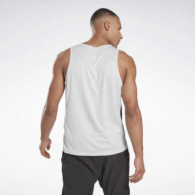Men Trail Running White Running Essentials Singlet