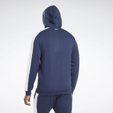Men Fitness & Training Blue Training Essentials Linear Logo Zip-Up Hoodie