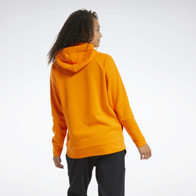 Women Training Orange Quik Cotton Vector Hoodie
