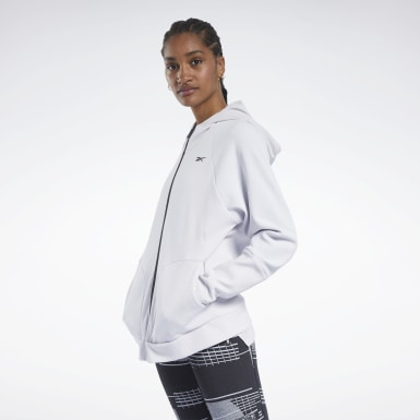 Women City Outdoor White Quik Cotton Full-Zip Hoodie